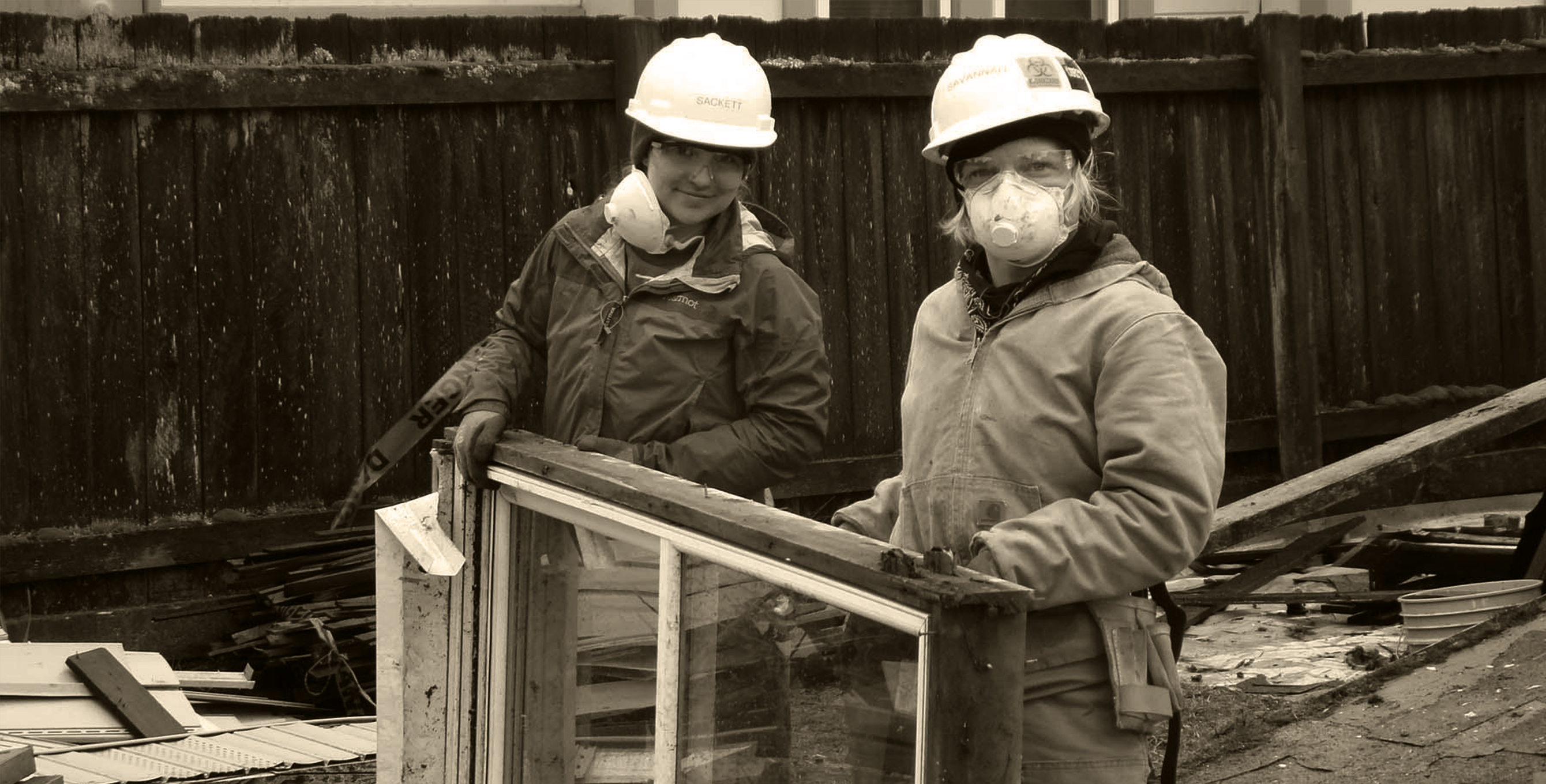 women working at deconstruction site in Portland